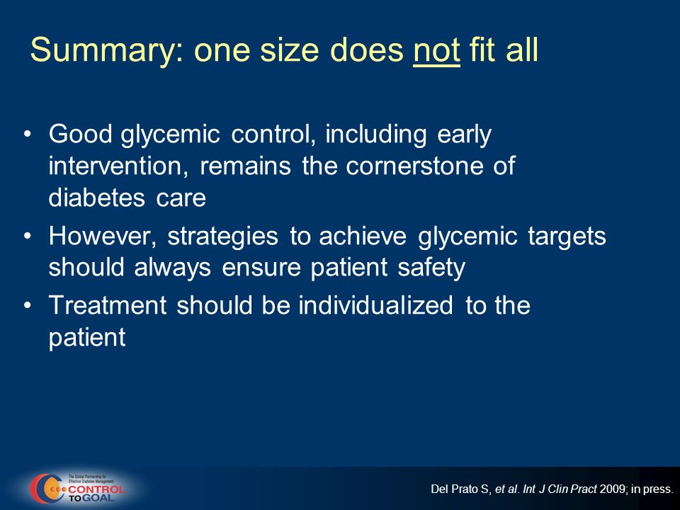 Summary: one size does not fit all Good glycemic control, including early intervention, remains the cornerstone of diabetes care However, strategies t
