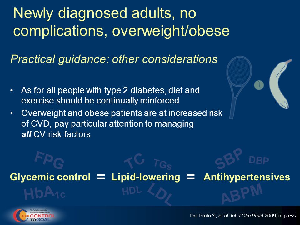 Newly diagnosed adults, no complications, overweight/obese Practical guidance: other considerations As for all people with type 2 diabetes, diet and e