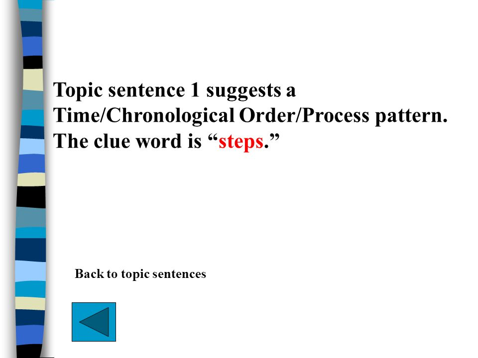 Topic sentence 1 suggests a Time/Chronological Order/Process pattern. The clue word is steps. Back to topic sentences