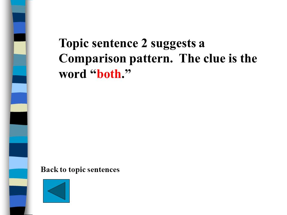 Topic sentence 2 suggests a Comparison pattern. The clue is the word both. Back to topic sentences