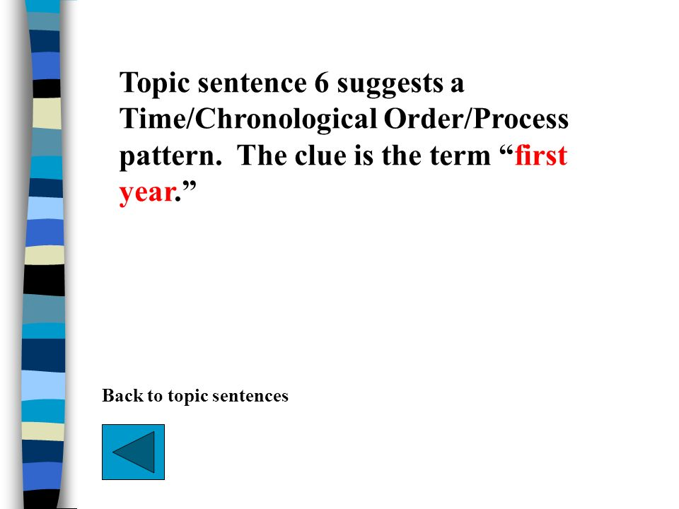 Topic sentence 6 suggests a Time/Chronological Order/Process pattern. The clue is the term first year. Back to topic sentences