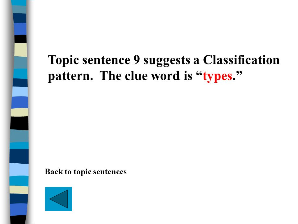 Topic sentence 9 suggests a Classification pattern. The clue word is types. Back to topic sentences