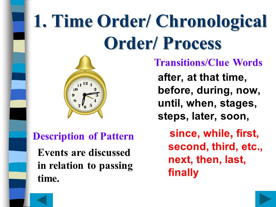 1. Time Order/ Chronological Order/ Process after, at that time, before, during, now, until, when, stages, steps, later, soon, since, while, first, se