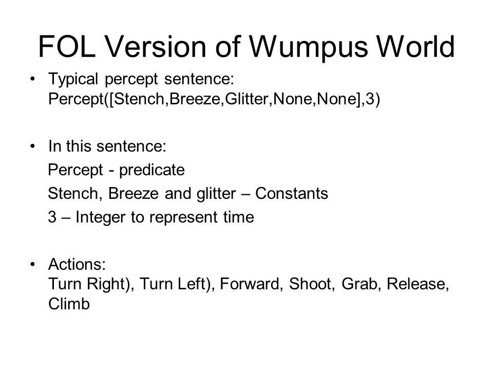 FOL Version of Wumpus World Typical percept sentence: Percept([Stench,Breeze,Glitter,None,None],3) In this sentence: Percept - predicate Stench, Breez
