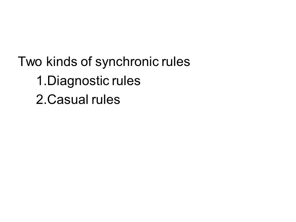 Two kinds of synchronic rules 1.Diagnostic rules 2.Casual rules