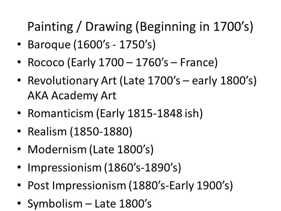 Painting / Drawing – This is a HUGE era for this.Development of Modern Art.