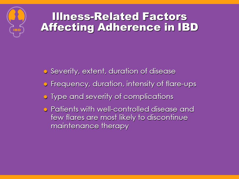 Illness-Related Factors Affecting Adherence in IBD Severity, extent, duration of disease Severity, extent, duration of disease Frequency, duration, in