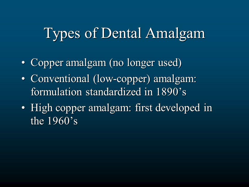 Types of Dental Amalgam Copper amalgam (no longer used)Copper amalgam (no longer used) Conventional (low-copper) amalgam: formulation standardized in