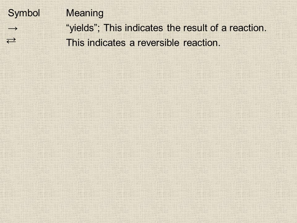 SymbolMeaning yields; This indicates the result of a reaction. This indicates a reversible reaction.