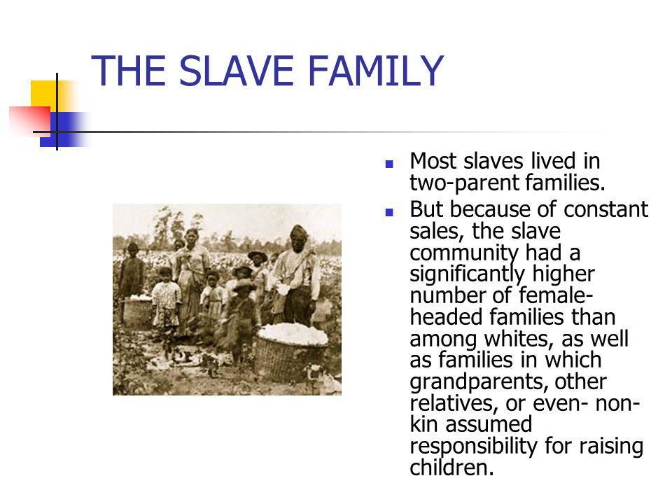 THE SLAVE FAMILY Most slaves lived in two-parent families. But because of constant sales, the slave community had a significantly higher number of fem