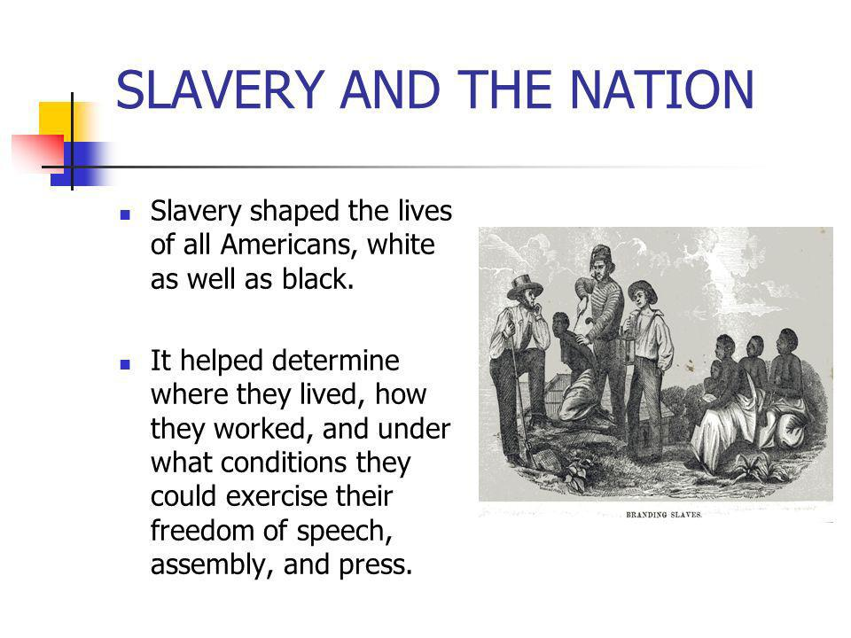SLAVERY AND THE NATION Slavery shaped the lives of all Americans, white as well as black. It helped determine where they lived, how they worked, and u