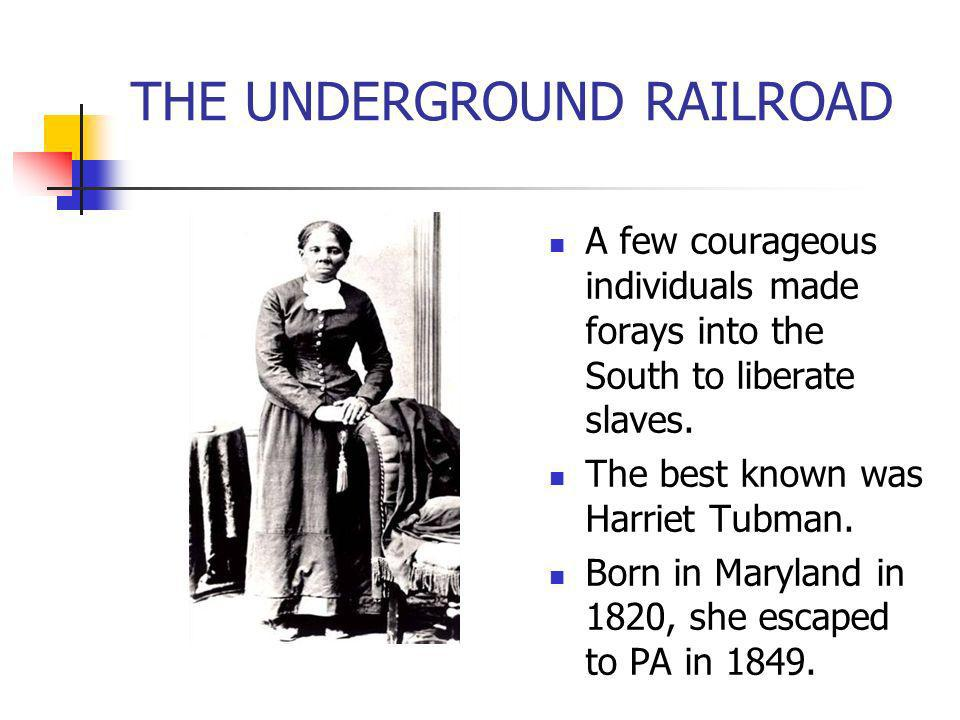 THE UNDERGROUND RAILROAD A few courageous individuals made forays into the South to liberate slaves. The best known was Harriet Tubman. Born in Maryla