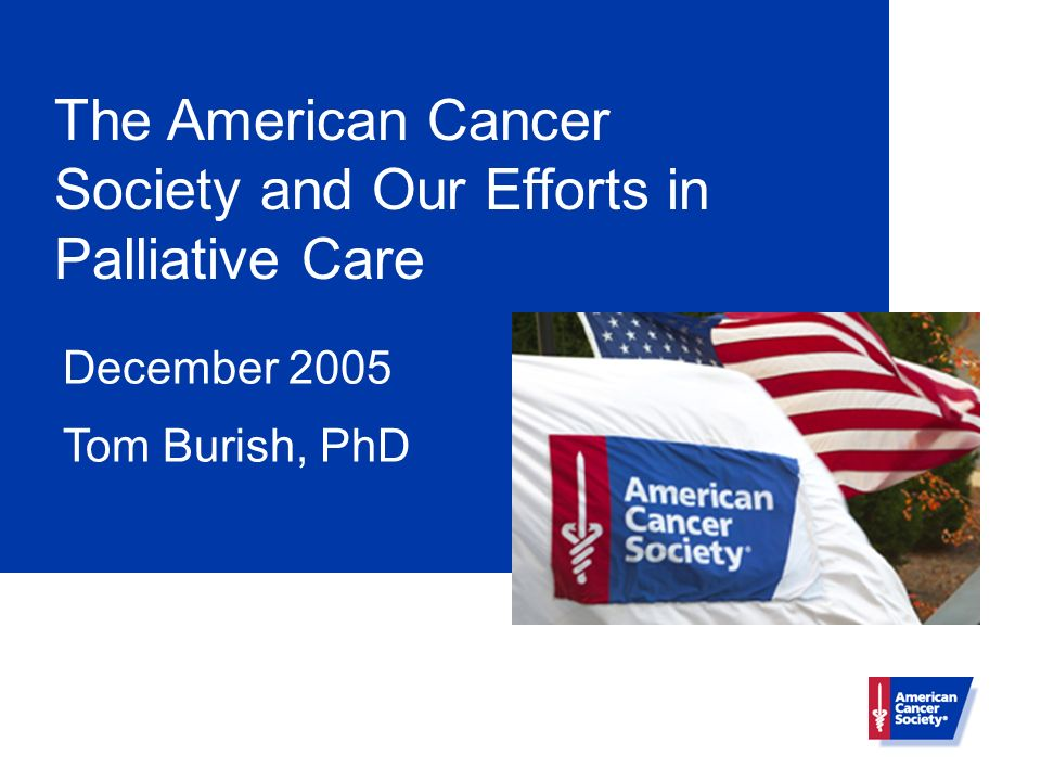 The American Cancer Society and Our Efforts in Palliative Care December 2005 Tom Burish, PhD