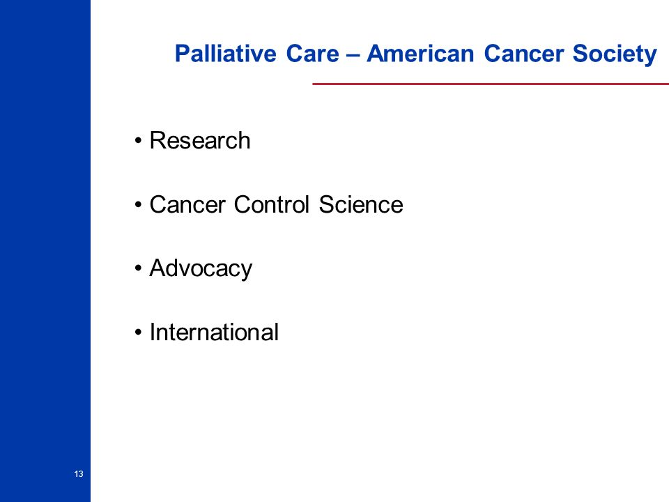 13 Palliative Care – American Cancer Society Research Cancer Control Science Advocacy International