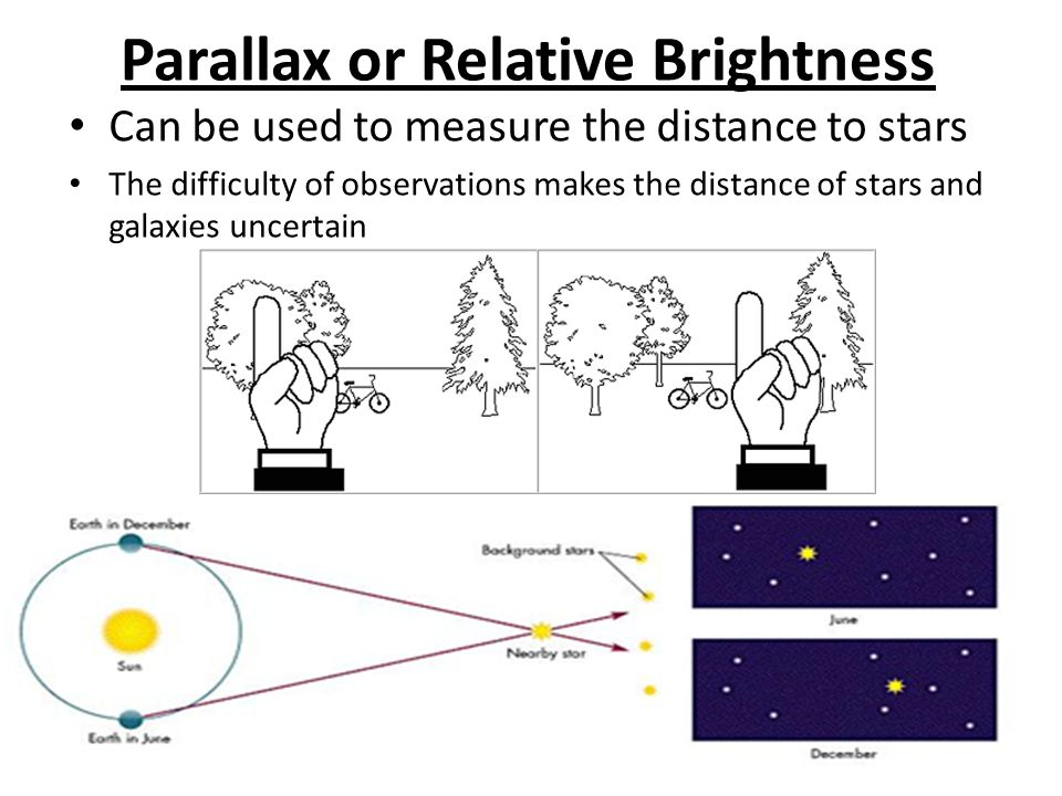 Parallax or Relative Brightness Can be used to measure the distance to stars The difficulty of observations makes the distance of stars and galaxies u