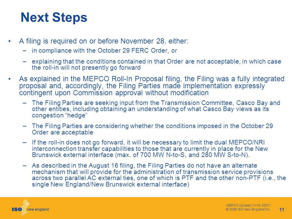 MEPCO Update (11/16, 2007) © 2005 ISO New England Inc.