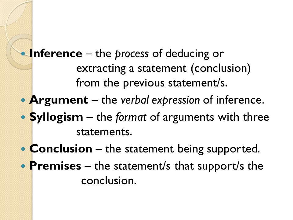 Key Terms ARGUMENT PREMISES CONCLUSION INFERENCE SYLLOGISM