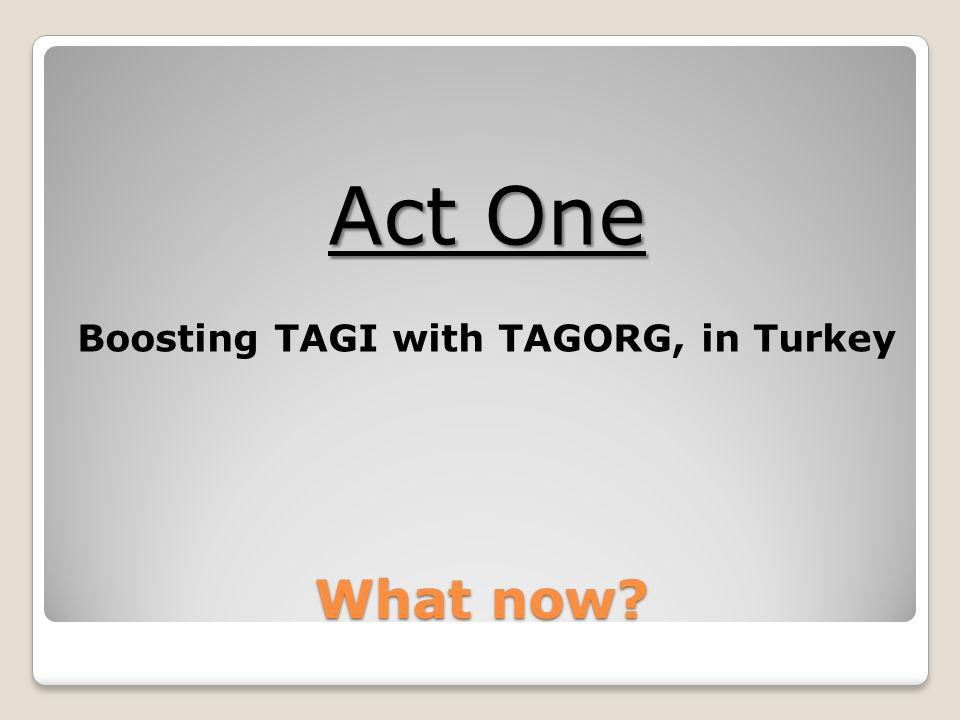 What now Act One Boosting TAGI with TAGORG, in Turkey