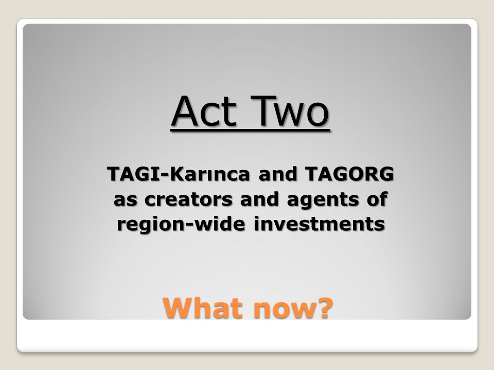 What now Act Two TAGI-Karınca and TAGORG as creators and agents of region-wide investments