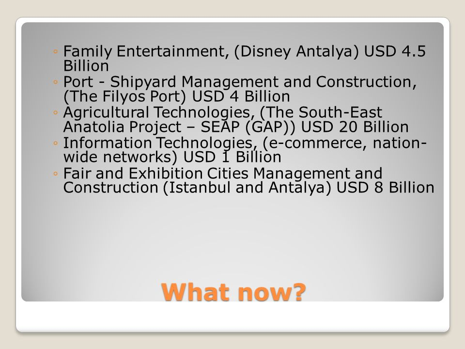 What now? Family Entertainment, (Disney Antalya) USD 4.5 Billion Port - Shipyard Management and Construction, (The Filyos Port) USD 4 Billion Agricult