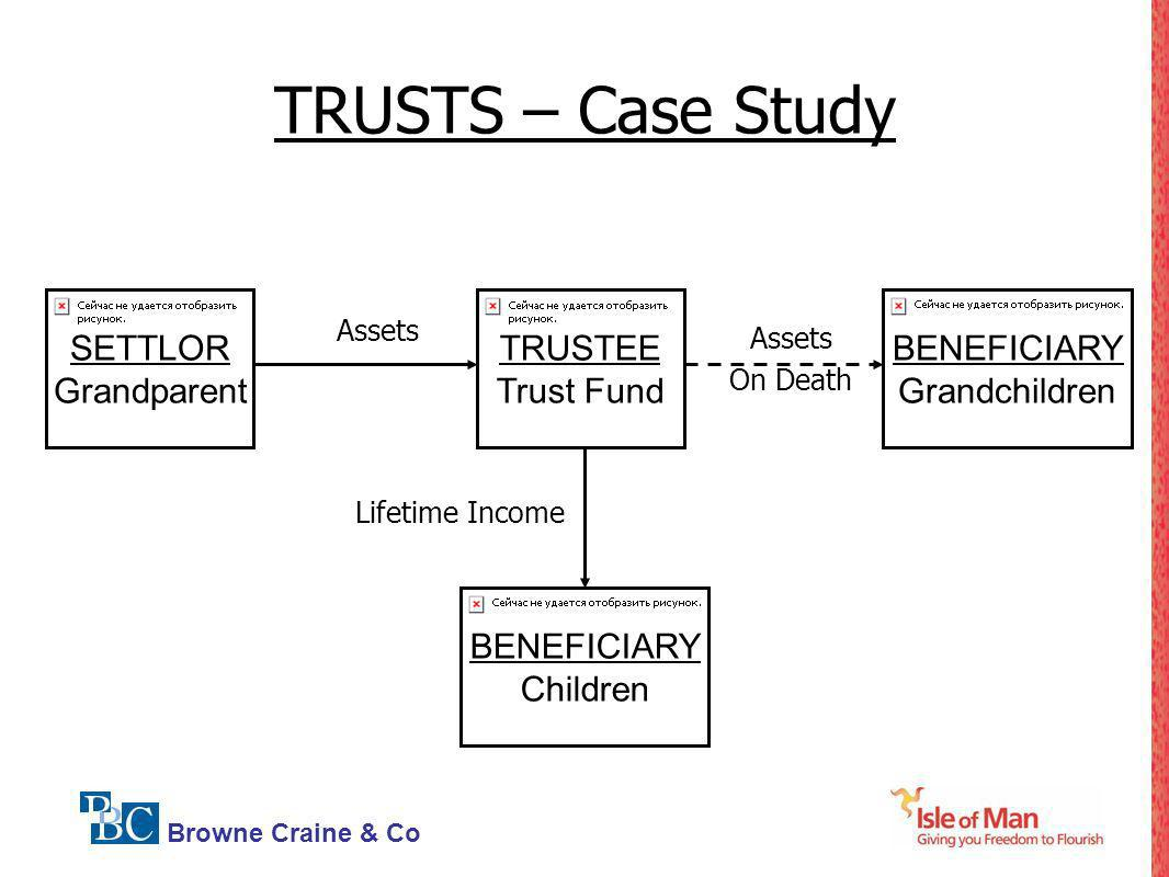 Browne Craine & Co TRUSTS – Case Study Lifetime Income SETTLOR Grandparent Assets On Death Assets BENEFICIARY Children TRUSTEE Trust Fund BENEFICIARY