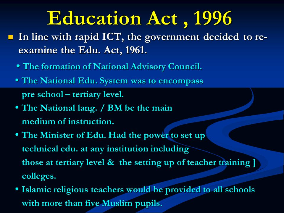 2)Implementation of the Razak Report (1956) 2)Implementation of the Razak Report (1956) -led to the formulation of the National Edu.