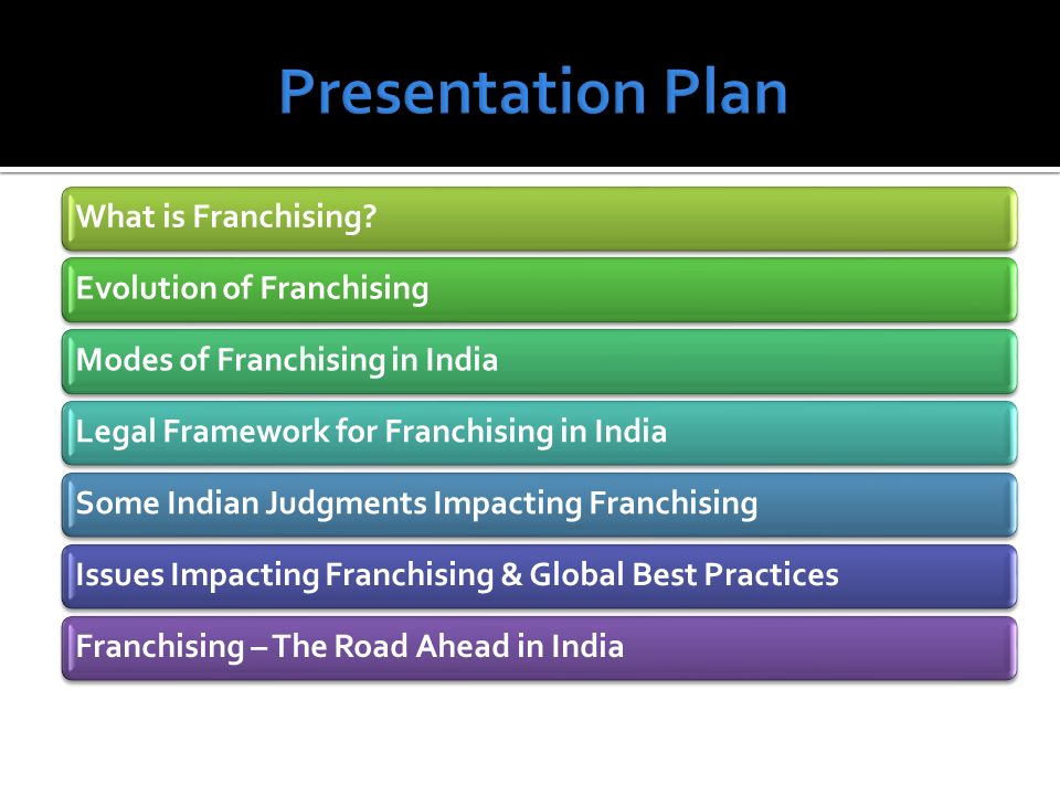 What is Franchising?Evolution of FranchisingModes of Franchising in IndiaLegal Framework for Franchising in IndiaSome Indian Judgments Impacting Franc