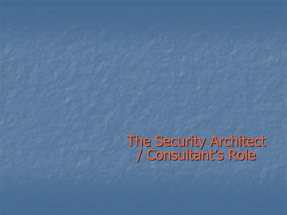 The Security Architect / Consultants Role