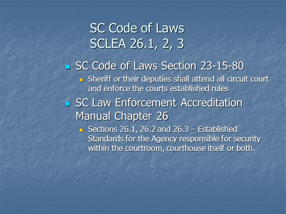 SC Code of Laws SCLEA 26.1, 2, 3 SC Code of Laws Section 23-15-80 SC Code of Laws Section 23-15-80 Sheriff or their deputies shall attend all circuit court and enforce the courts established rules Sheriff or their deputies shall attend all circuit court and enforce the courts established rules SC Law Enforcement Accreditation Manual Chapter 26 SC Law Enforcement Accreditation Manual Chapter 26 Sections 26.1, 26.2 and 26.3 – Established Standards for the Agency responsible for security within the courtroom, courthouse itself or both.