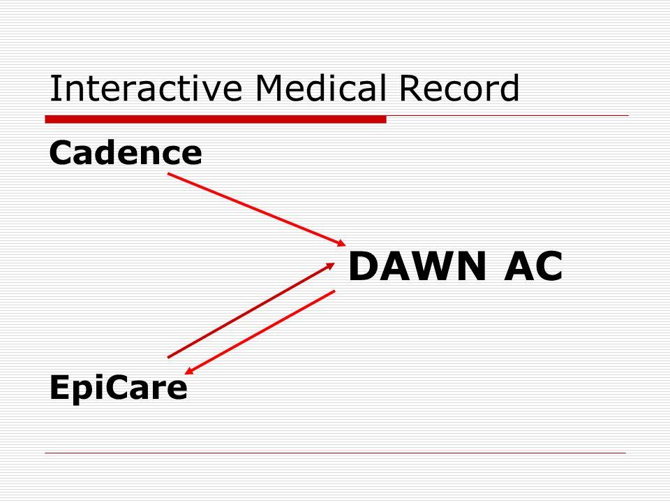 Interactive Medical Record Cadence EpiCare DAWN AC
