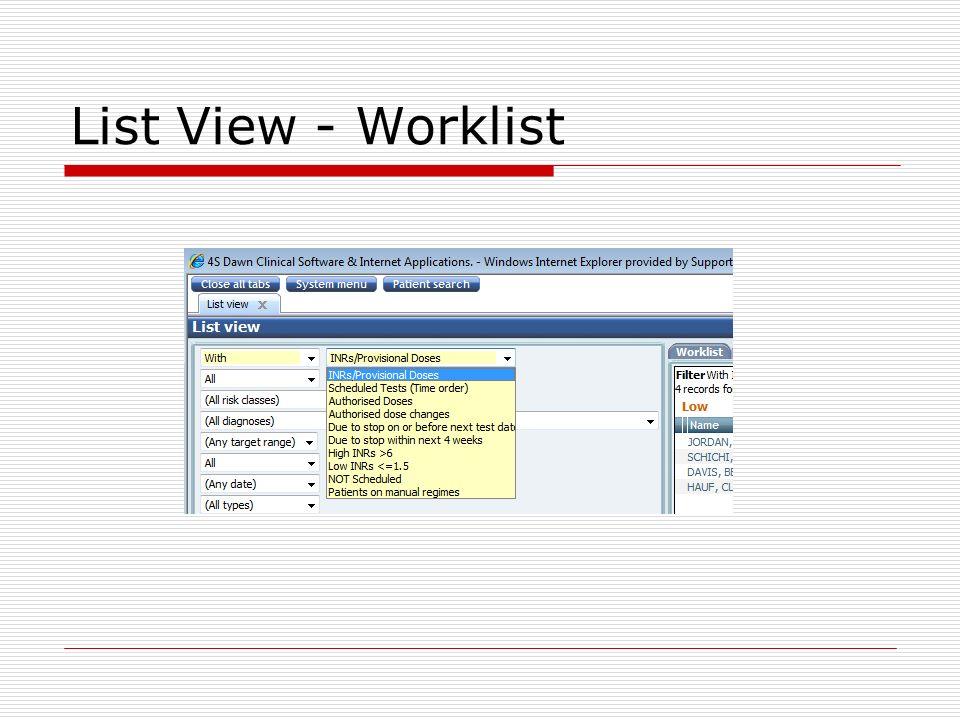 List View - Worklist