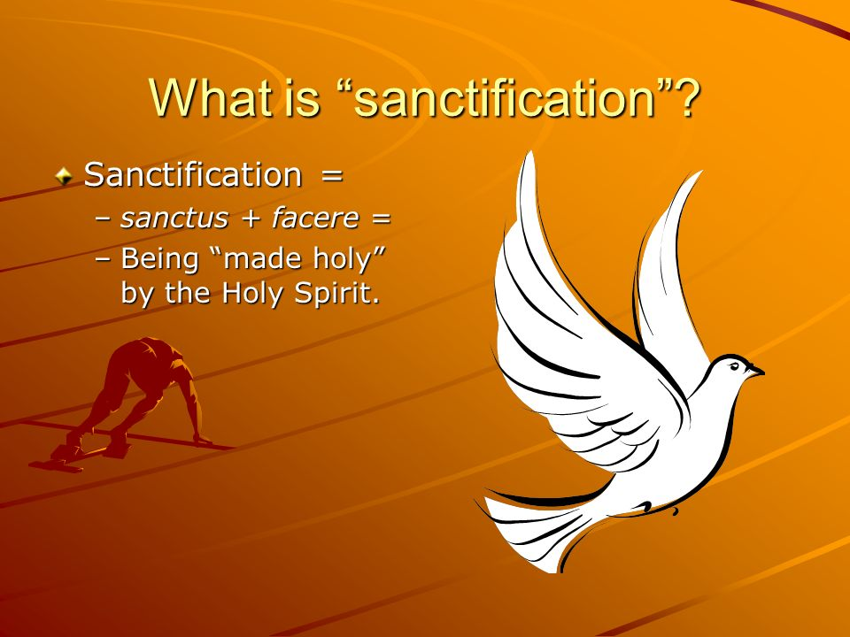 What is sanctification? Sanctification = –sanctus + facere = –Being made holy by the Holy Spirit.