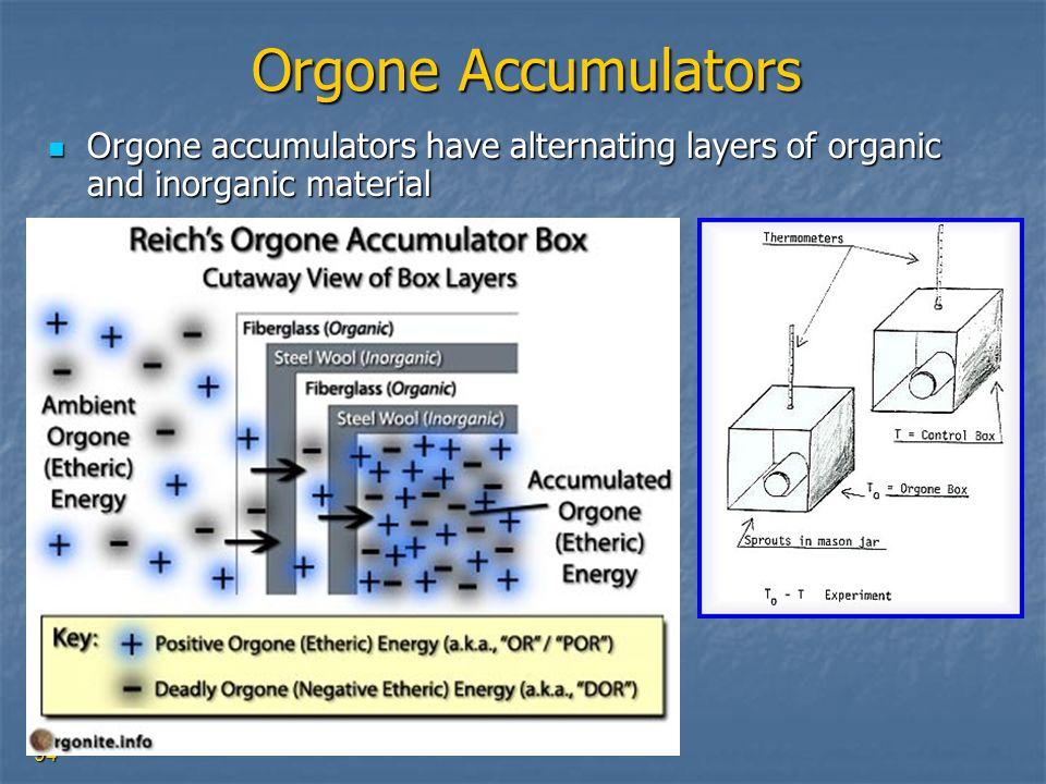 94 Orgone Accumulators Orgone accumulators have alternating layers of organic and inorganic material Orgone accumulators have alternating layers of or
