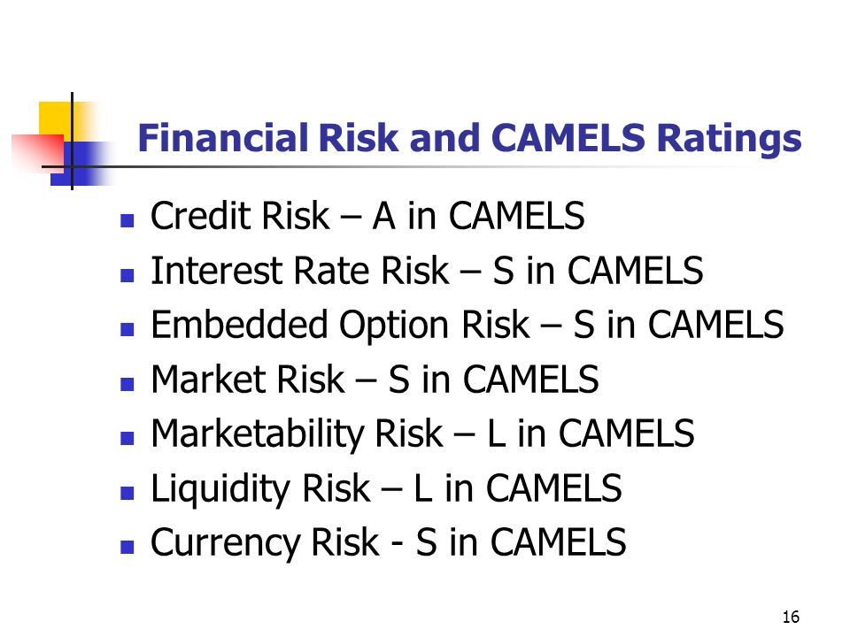 16 Financial Risk and CAMELS Ratings Credit Risk – A in CAMELS Interest Rate Risk – S in CAMELS Embedded Option Risk – S in CAMELS Market Risk – S in CAMELS Marketability Risk – L in CAMELS Liquidity Risk – L in CAMELS Currency Risk - S in CAMELS