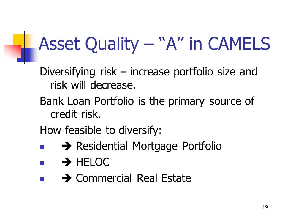 19 Asset Quality – A in CAMELS Diversifying risk – increase portfolio size and risk will decrease.