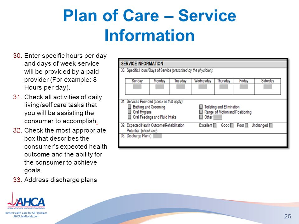 Plan of Care – Service Information 30.Enter specific hours per day and days of week service will be provided by a paid provider (For example: 8 Hours per day).