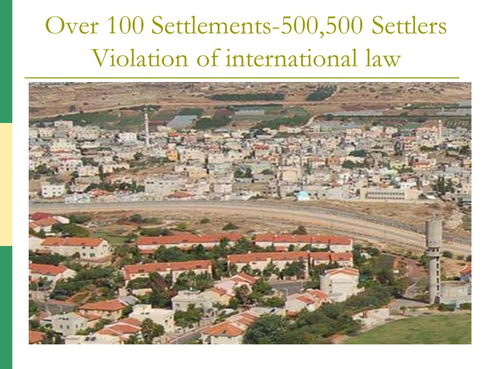 Over 100 Settlements-500,500 Settlers Violation of international law