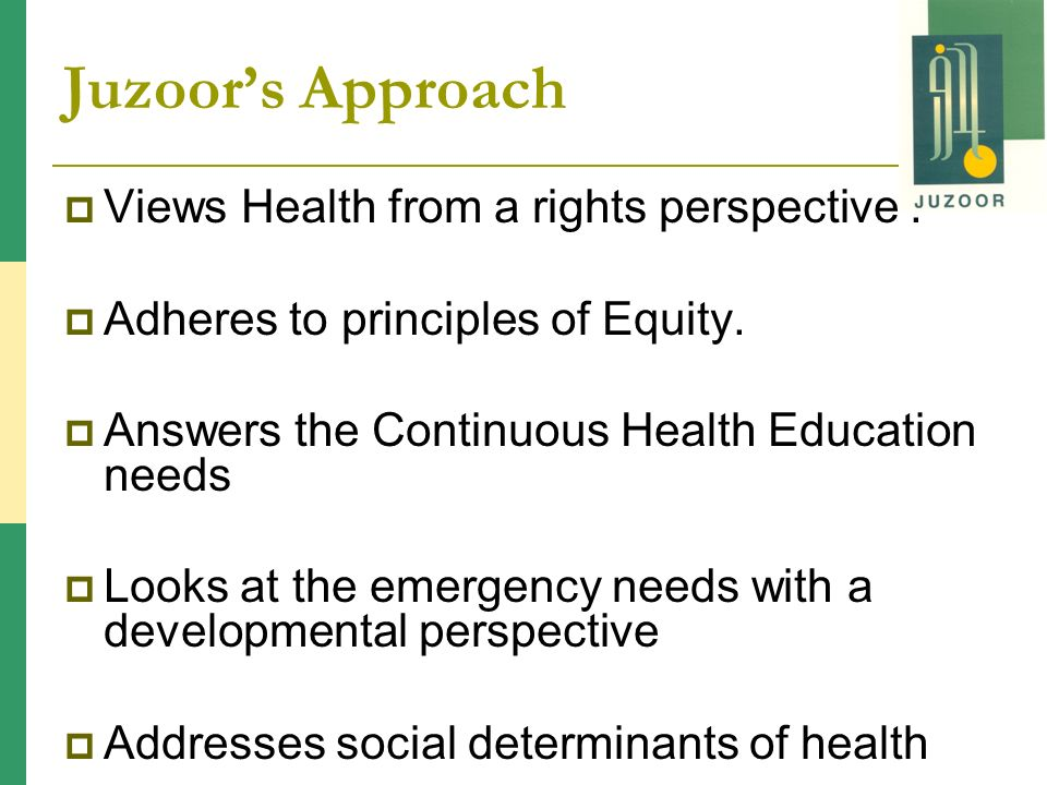 Juzoors Approach Views Health from a rights perspective.