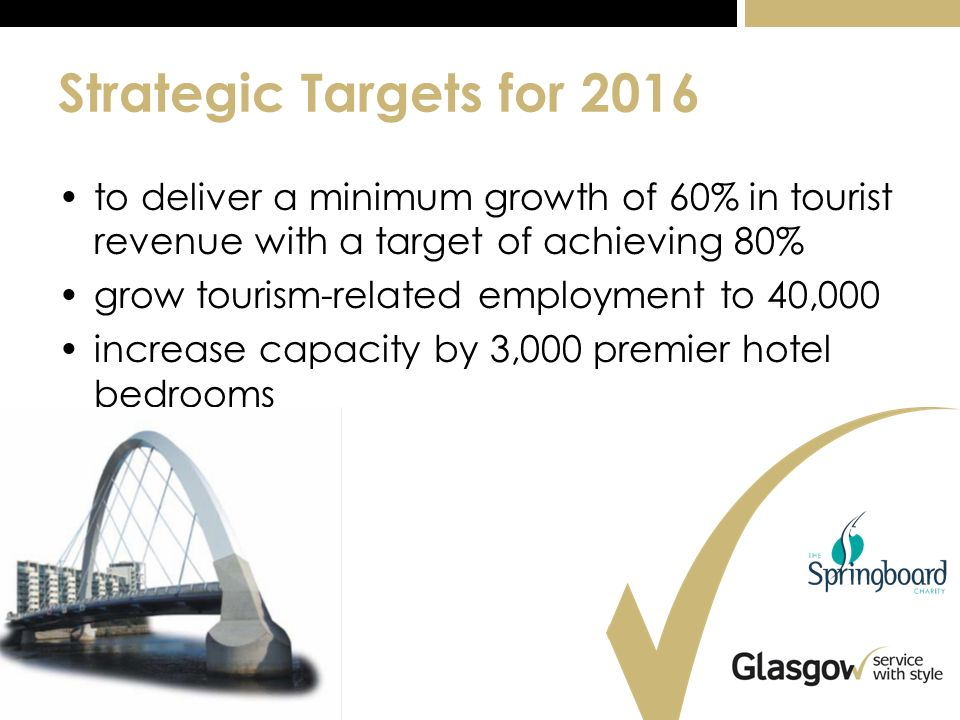 Strategic Targets for 2016 to deliver a minimum growth of 60% in tourist revenue with a target of achieving 80% grow tourism-related employment to 40,000 increase capacity by 3,000 premier hotel bedrooms