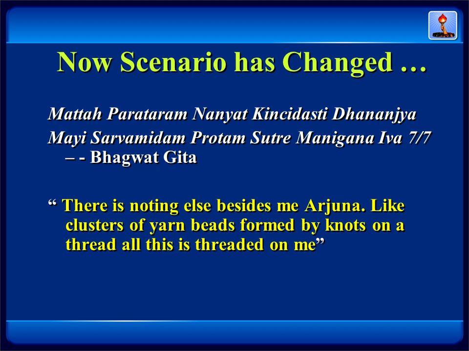 Now Scenario has Changed … Mattah Parataram Nanyat Kincidasti Dhananjya Mayi Sarvamidam Protam Sutre Manigana Iva 7/7 – - Bhagwat Gita There is noting