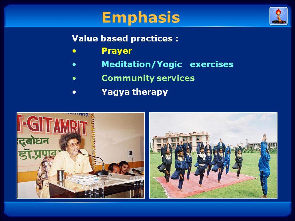 Value based practices : Prayer Meditation/Yogic exercises Community services Yagya therapy Emphasis