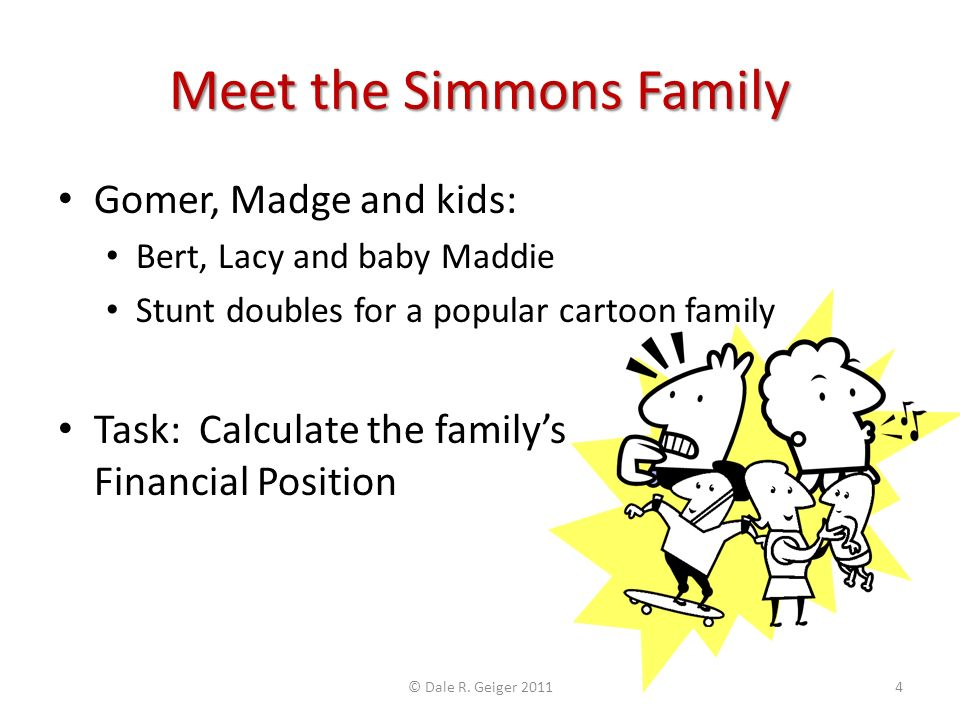 Meet the Simmons Family Gomer, Madge and kids: Bert, Lacy and baby Maddie Stunt doubles for a popular cartoon family Task: Calculate the familys Financial Position © Dale R.