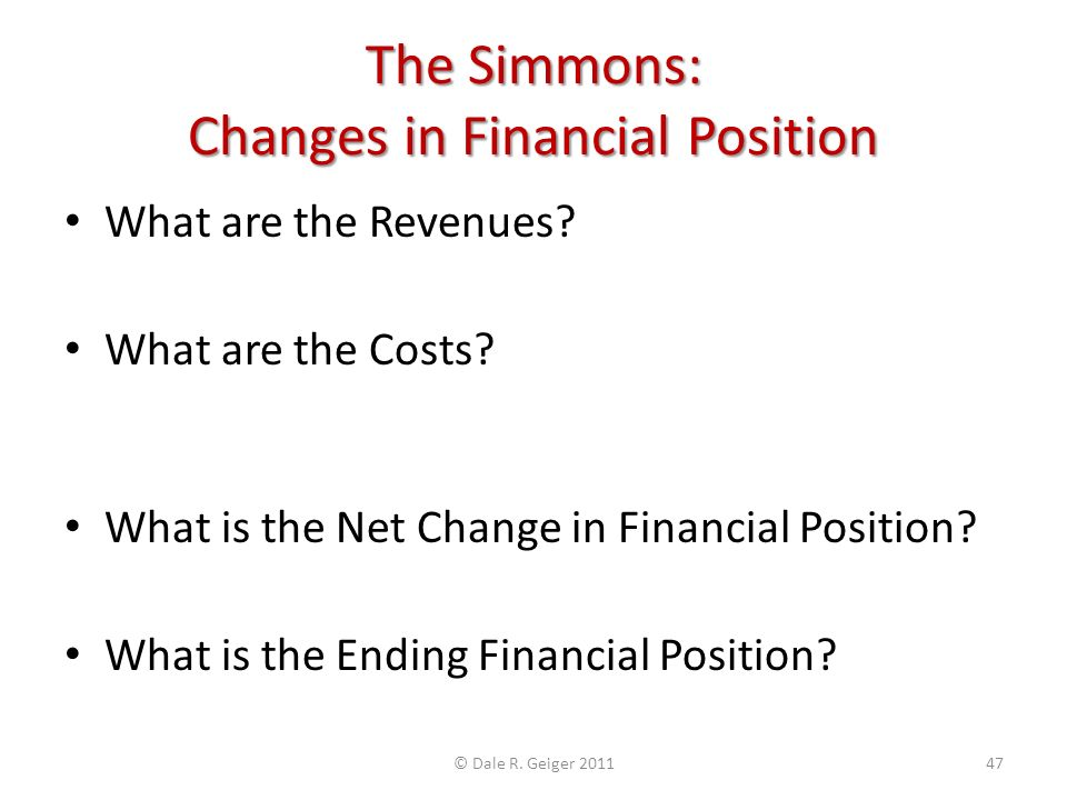 The Simmons: Changes in Financial Position What are the Revenues.
