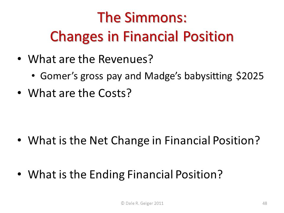 The Simmons: Changes in Financial Position What are the Revenues? Gomers gross pay and Madges babysitting $2025 What are the Costs? Tax withholding, g
