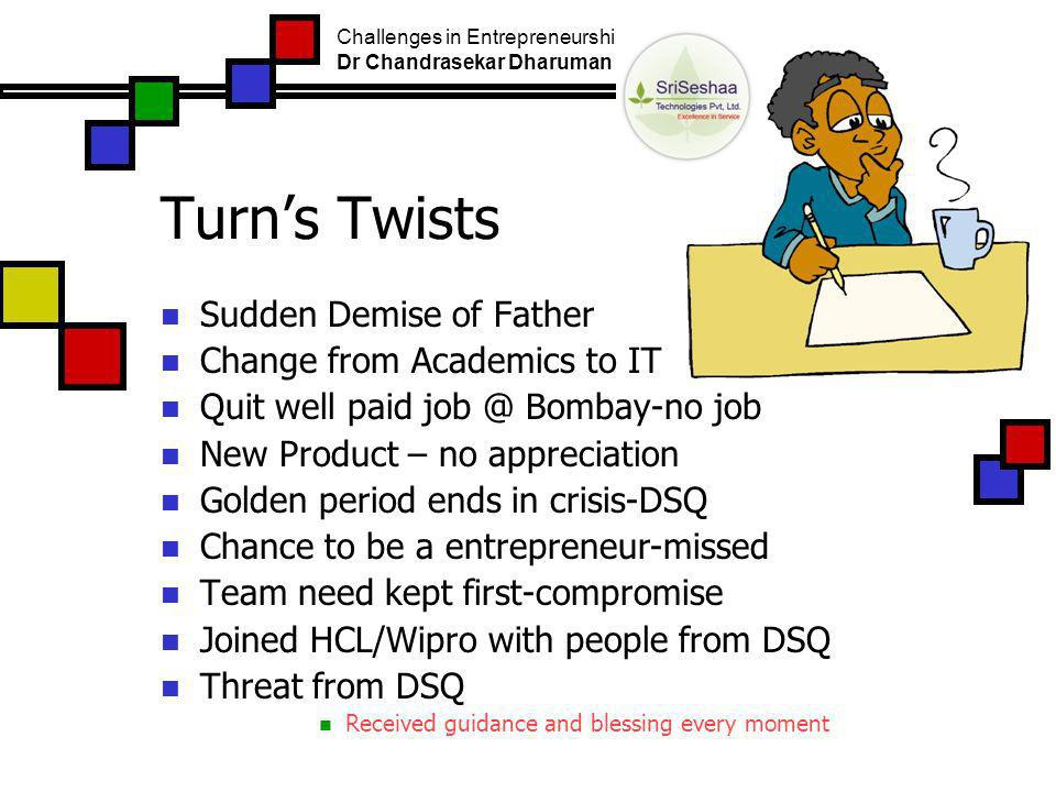 Turns Twists Sudden Demise of Father Change from Academics to IT Quit well paid job @ Bombay-no job New Product – no appreciation Golden period ends in crisis-DSQ Chance to be a entrepreneur-missed Team need kept first-compromise Joined HCL/Wipro with people from DSQ Threat from DSQ Received guidance and blessing every moment Challenges in Entrepreneurship Dr Chandrasekar Dharuman