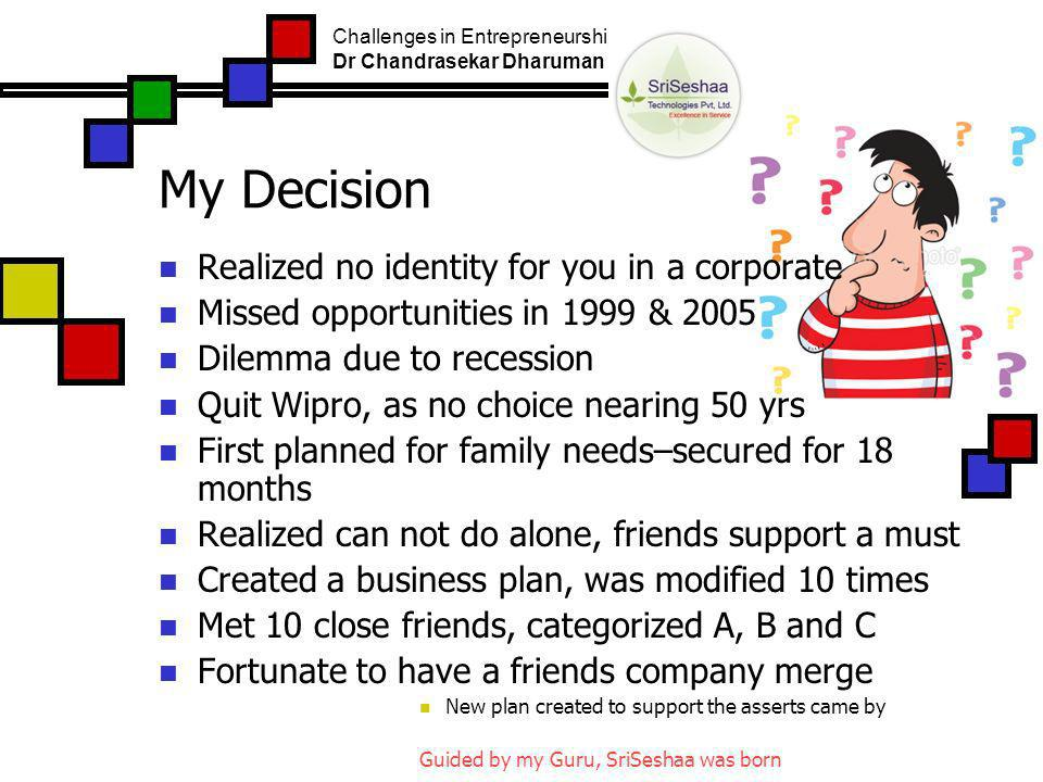 My Decision Realized no identity for you in a corporate Missed opportunities in 1999 & 2005 Dilemma due to recession Quit Wipro, as no choice nearing 50 yrs First planned for family needs–secured for 18 months Realized can not do alone, friends support a must Created a business plan, was modified 10 times Met 10 close friends, categorized A, B and C Fortunate to have a friends company merge New plan created to support the asserts came by Guided by my Guru, SriSeshaa was born Challenges in Entrepreneurship Dr Chandrasekar Dharuman