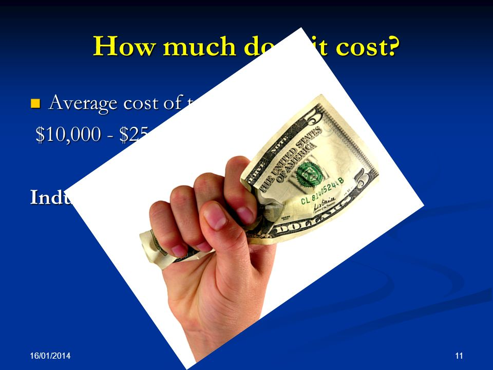 How much does it cost? Average cost of total treatment Average cost of total treatment $10,000 - $25, 000 (American dollars) $10,000 - $25, 000 (Ameri