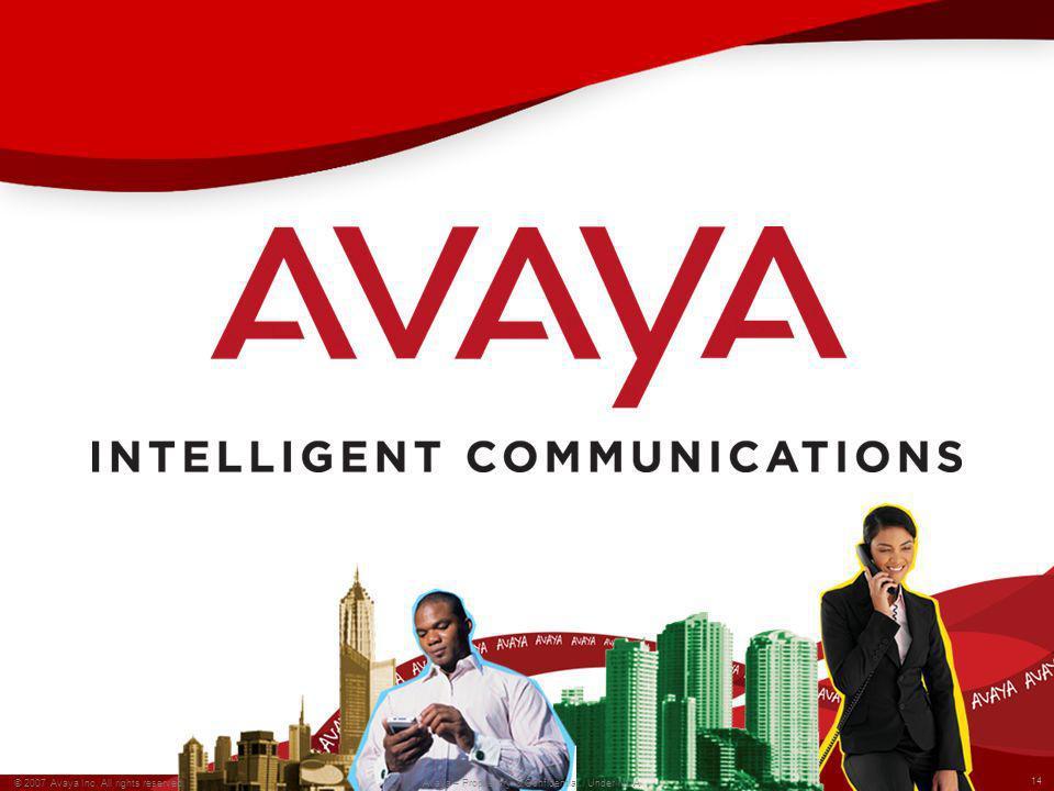 © 2009 Avaya Inc. All rights reserved. 14 © 2007 Avaya Inc. All rights reserved. Avaya – Proprietary & Confidential. Under NDA