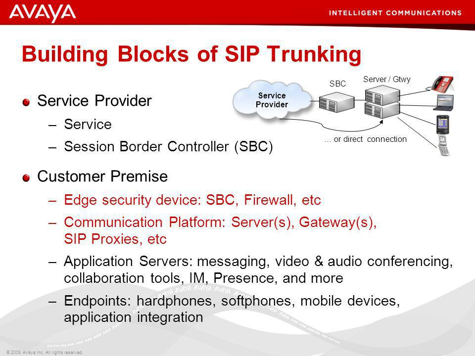 © 2009 Avaya Inc. All rights reserved. Building Blocks of SIP Trunking Service Provider –Service –Session Border Controller (SBC) Customer Premise –Ed