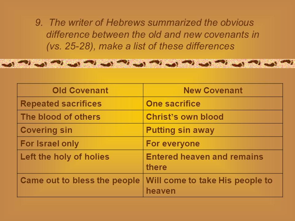 9. The writer of Hebrews summarized the obvious difference between the old and new covenants in (vs. 25-28), make a list of these differences Old Cove